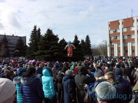 Масленица в Орехово-Зуево 13 марта 2016. Сжигание чучела на масленицу