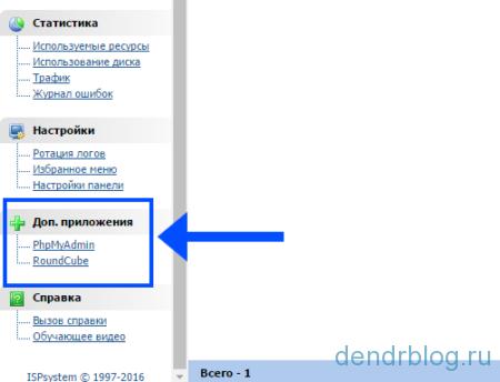 Панель управления хостингом isp manager