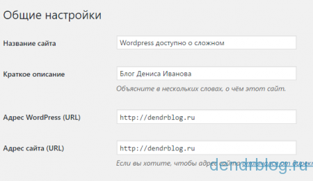 Общие настройки cms wordpress
